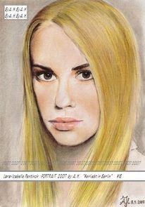 Portrait, Zeichnung, Zeichnungen, Blond
