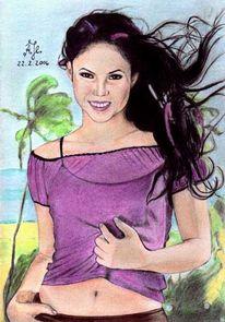 Zeichnung, Portrait, Zeichnungen, Strand