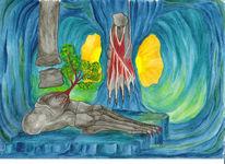 Fuß, Abstrakt, Aquarellmalerei, Aquarell