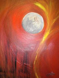 Mondphase, Abendrot, Abstrakt, Mond