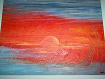 Malerei, Sonnenuntergang, Rot, Sonne