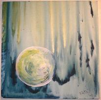 Malerei, Weiß, Blau, Rund
