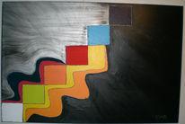 Blau, Orange, Acrylmalerei, Farben