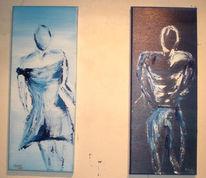 Frau, Acrylmalerei, Abstrakt, Mann