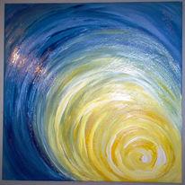 Sonnenaufgang, Malerei, Blau, Sonne