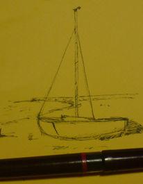 Meer, Boot, Küste, Zeichnungen