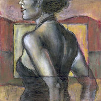 Sonne, Pastellmalerei, Schwarz weiß, Frau