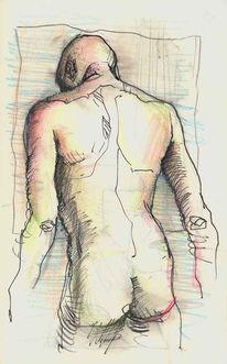 Grafik, Mann, Skizze, Mann von hinten