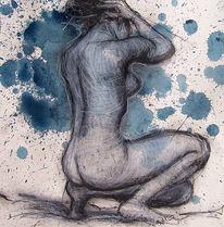 Frau, Zeichnung, Rücken, Ansicht