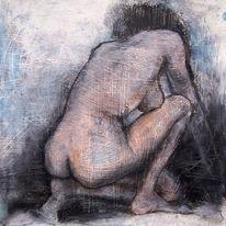 Frau, Zeichnung, Frau rücken, Rücken