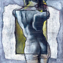 Rücken, Erotik, Frau, Malerei