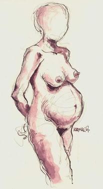 Baby, Frau, Zeichnung, Akt