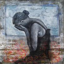 Malerei, Weinen, Frau, Menschen