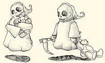 Teddybär, Tod, Zeichnungen