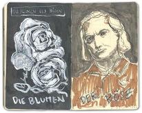 Blumen, Böse, Tuschmalerei, Baudelaire