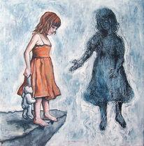 Malerei, Mädchen, Fliegen, Menschen