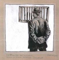 Gefängnis, Tuschmalerei, Mann, Zeichnung