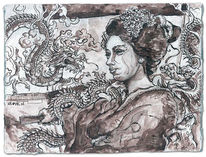 Japan, Tuschmalerei, Geisha, Drache