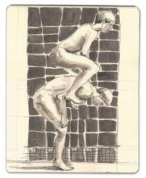 Tuschmalerei, Junge, Hüpfen, Muybridge
