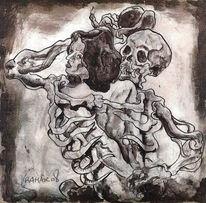Feder, Akt, Tod, Zeichnung