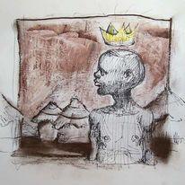 Zeichnung, Prinz, Afrika, Zeichnungen