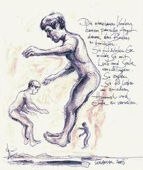 Zeichnung, Bleistiftzeichnung, Schweben, Tusche