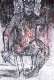 Stuhl, Trohn, König, Malerei