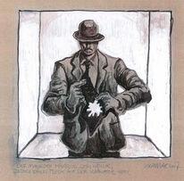 Mann, Krawatte, Makel, Zeichnung
