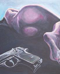 Schwarz, Malerei, Waffe, Frau