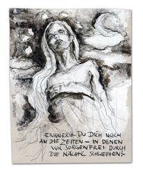 Zeichnung, Tuschmalerei, Frau, Erinnerung