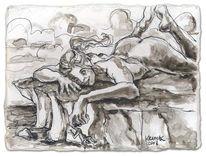 Riesin, Frau, Zeichnung, Akt