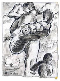 Fuß, Tusche, Riesin, Zeichnung
