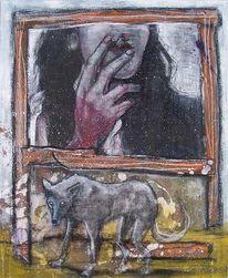 Malerei, Wolf, Zigarette, Rotkäppchen