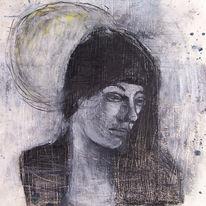 Mond, Zeichnung, Frau, Traurig