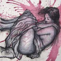 Frau, Zeichnung, Rot, Schlaf