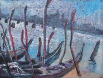 Venedig, Grau, Malerei, Blau