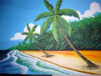 Malerei, Strand, Palmen, Meer