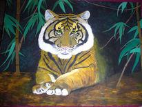 Malerei, Urwald, Tiger, Bambus