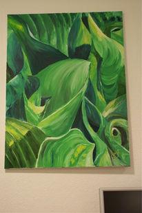 Malerei, Blätter, Grün