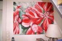 Ölmalerei, Rot, Bunt, Blumen