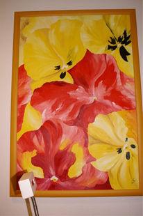 Gelb, Malerei, Stiefmütterchen, Blumen