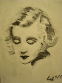 Berühren, 2008, Kohlezeichnung, Zeichnung