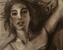 Kohlezeichnung, Liegend, Frau, Portrait