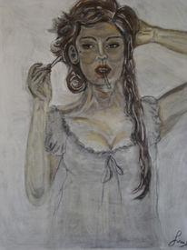 Frau, Portrait, Gehen, Pastellmalerei