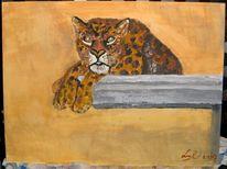 Katze, August, Acrylmalerei, Leopard