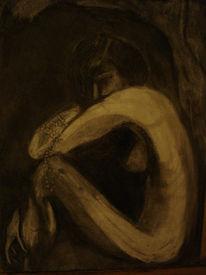 Akt, Dunkel, Frau, Kohlezeichnung