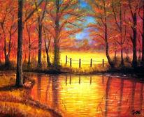Rot, Gelb, Ufer, Landschaft
