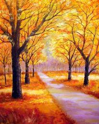 Gelb, Rot, Malerei, Landschaft