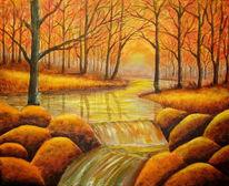 Landschaft, Wald, Rot, Wasserfall