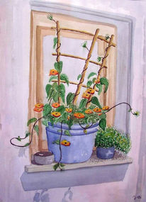 Malerei, Stillleben, Blumen, Fenster